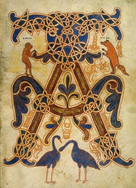 Illuminated initial A from a medieval bestiary