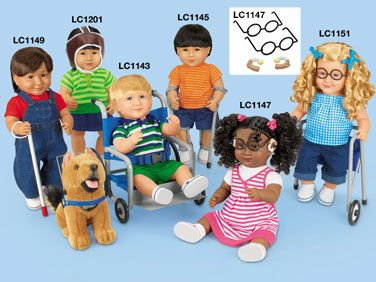 Lakeshore Learning sells adaptive equipment that you can pair with any of their multiethnic school dolls. You can choose a doll that looks like your child (they offer many different skin tones and hair colors) then pick the equipment they use to make a doll that your child can really relate to! Lakeshore Learning's adaptive equipment includes a guide dog with harness and a long white cane; a wheelchair; hearing aids and glasses; leg braces and forearm crutches; protective helmet; and a walker.: Lakeshore Learning, Hearing Aids, Occupational Therapy, Forearm Crutches, Adaptive Therapy, Kids Toys And Play, Lily S Dolls, Special Needs, Learning Sells