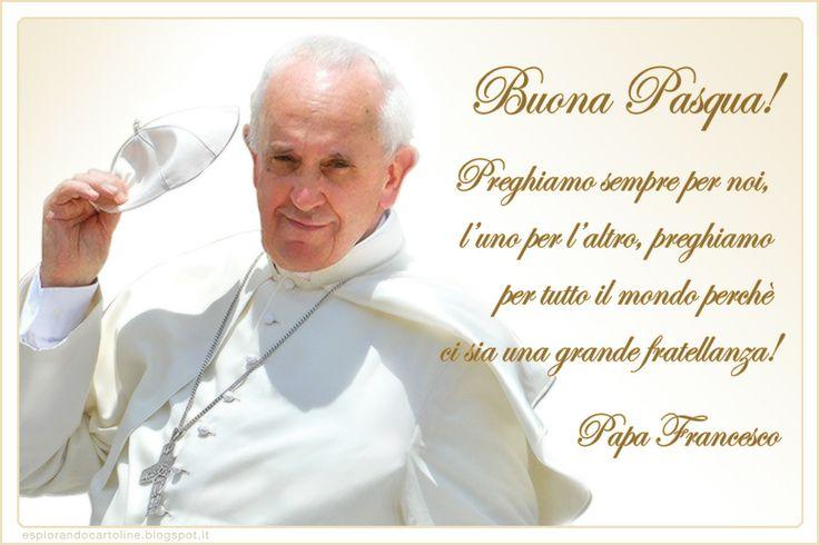 Cartolina per l'anno nuovo 2014 con Papa Francesco, la preghiera dell'Ave Maria e gli auguri di Buona Pasqua. Da scaricare gratis.