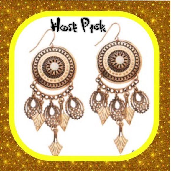 Ole Earrings HOST PICK Vintage gold chandelier earrings, feather weight , medallion with a solo opal, NWOT...STYLE TRENDS HOST PICK Park Lane Jewelry Earrings