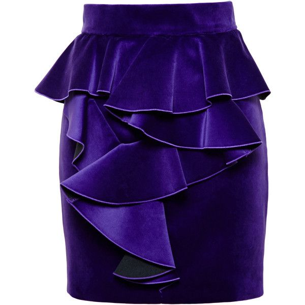 Balmain Velvet Frill Skirt found on Polyvore featuring skirts, flouncy skirt, velvet skirt, frilly skirt, fringe skirt and flounce skirt