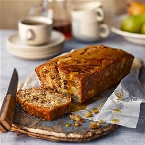 Pear and maple syrup banana bread recipe. This loaf is a brilliant way to use up browning bananas in the fruit bowl. It's all the more sticky and decadent with the addition of pears.