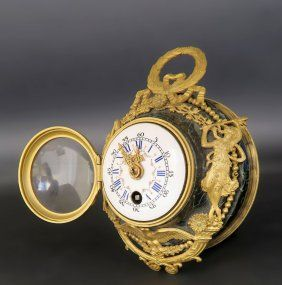 19th C. French Bronze & Marble Travel Clock