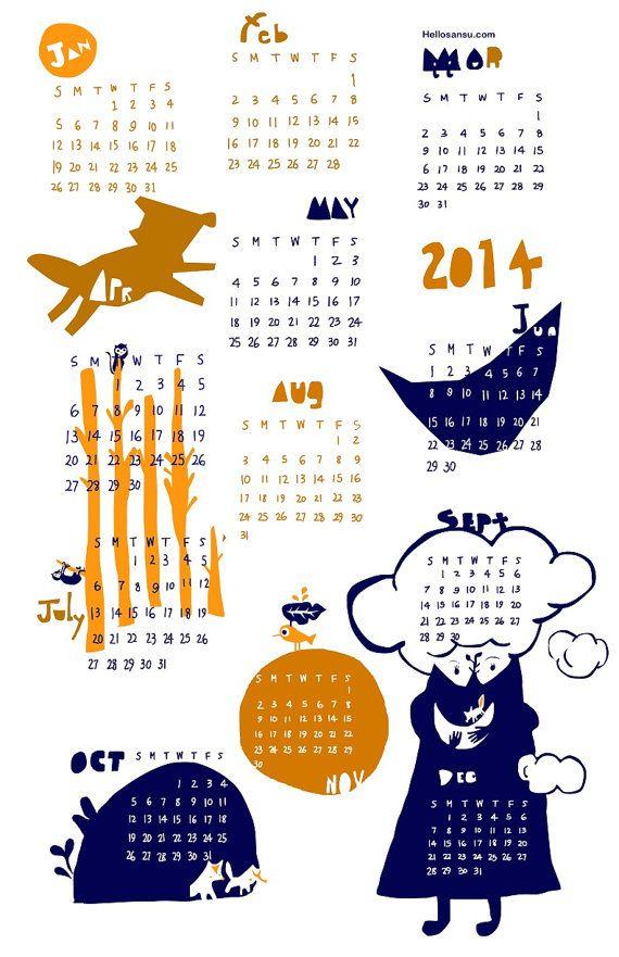 Sansu Calendar 2014 by #hellosansu Holiday #CyberMonday using coupon code #CyberSFetsy