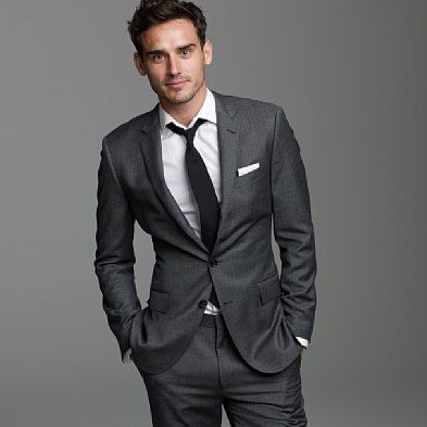 charcoal suit but with purple tie.