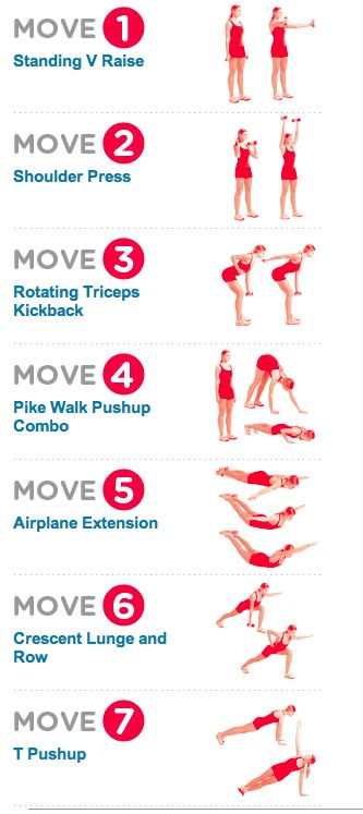 Women's Health: The (15 min) Bye-Bye Arm Jiggle Workout // REPS: (1) 12-15 reps (2) 6-8 reps (3) 12-15 reps (4) 5-6 pushups (5) 10-15 (6) 12-15 (7) 5