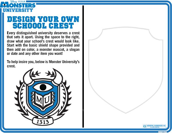 Monster University Design Your Own School Crest