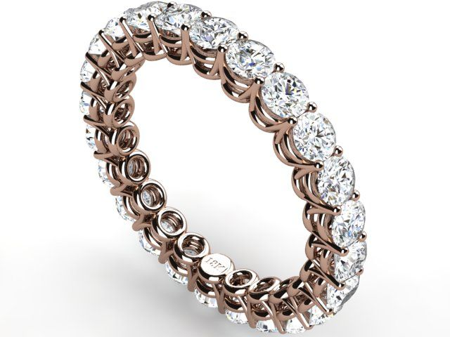 Full Eternity Diamond 2.40 ct Vs1 clarity H color Ring Band 18k Rose Gold - Paul Jewelry