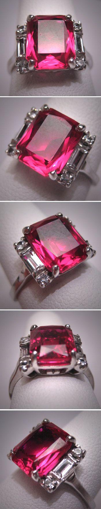Antique Ruby Ring Vintage Art Deco W. Sapphire