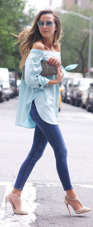Long Sky Blue Off-shoulder Top Paired With Pencil Denim Jeans And Heels With A Clutch Looks Beautiful!