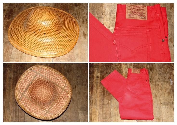 Le Magasin Général, Levi's red jeans, Wood hat form the 50's.