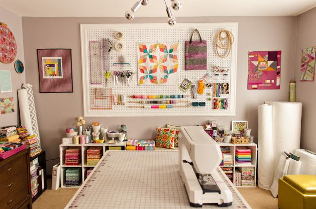 #craft #storage and #organization ideas: #quilting rooms | #quiltingrooms - Bijou LovelyStudio Spotlight.  Yes, supplies are good to have hanging around- form, function, color, inspiration, and motivation!