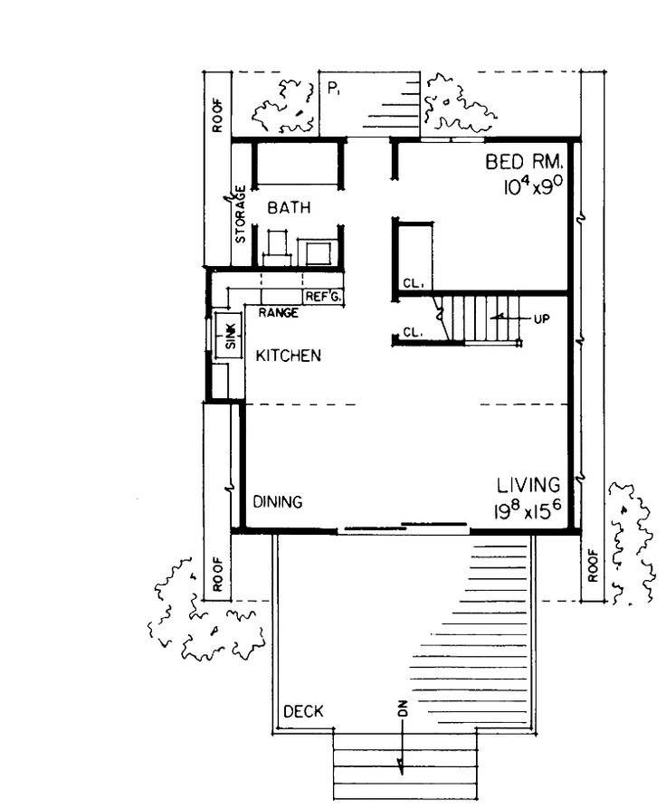 A Frame Home Plan 810 Square Feet 1 Bedroom 1 Bathroom