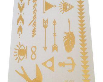 Premium Metallic Flash Gold Temporary Tattoo - Boho Native Tribal Aztec body jewelry tattoo Easy to Apply - Long Lasting - Edit Listing - Etsy