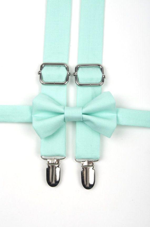 Mint bow tie & suspenders mint suspenders mint green by DapperGent