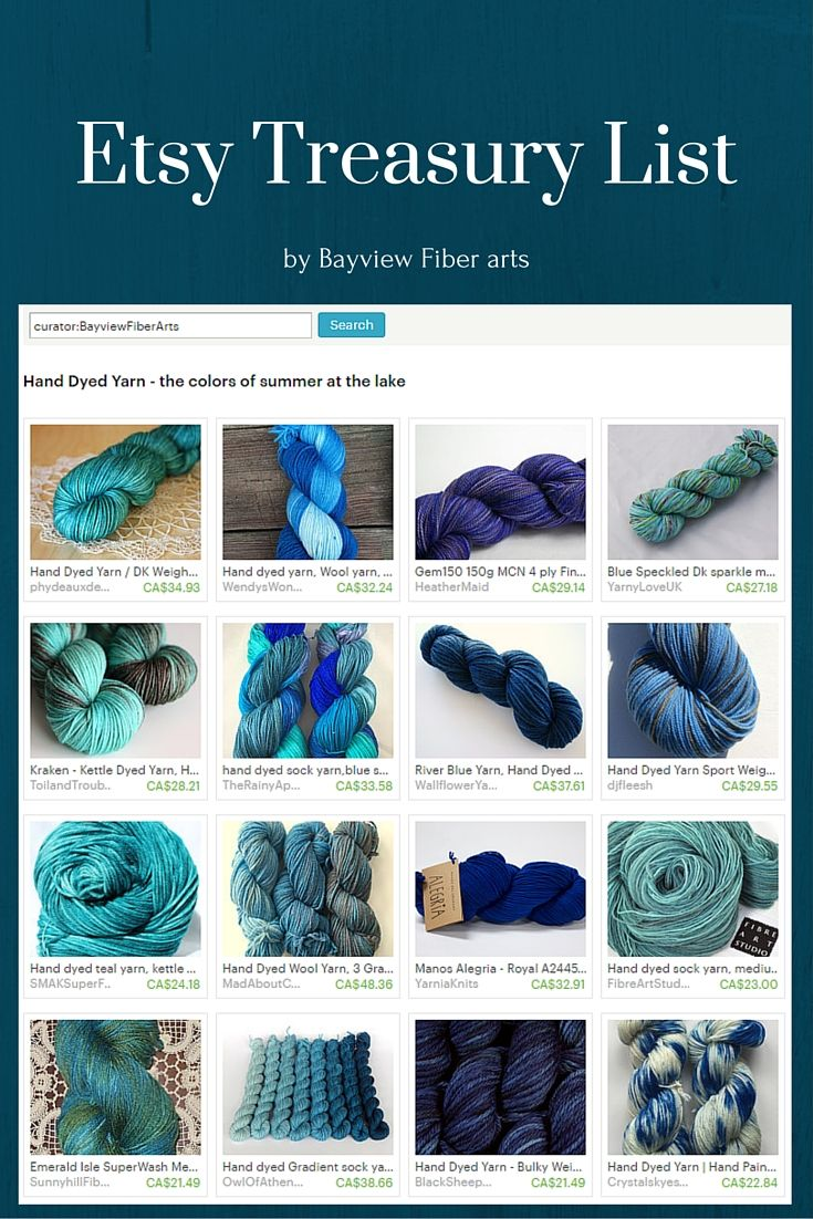 Treasury of 16 Hand Dyed Yarns - the colors of summer at the lake by Paula Holmes on Etsy