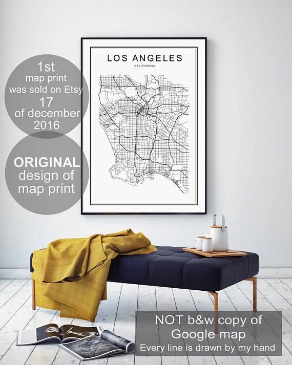 Los Angeles Map Print Los Angeles Map LA Map LA Map print