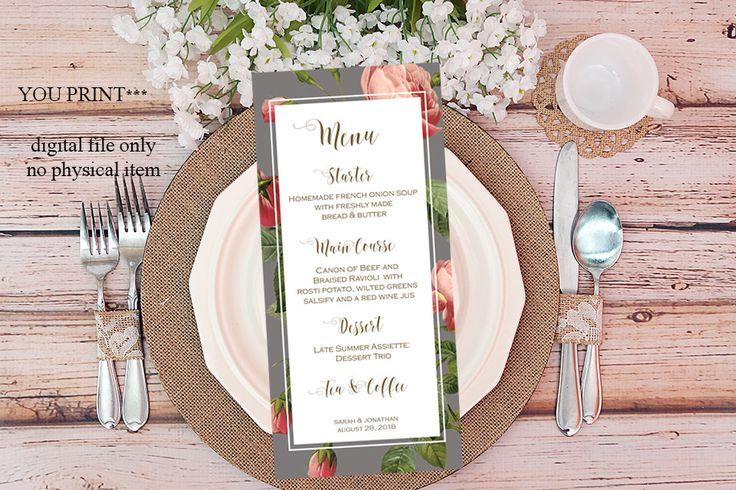 printable custom menu, custom wedding menu, digital custom menu, grey pink wedding menu, roses customized menu, you print by OurFriendsEclectic on Etsy
