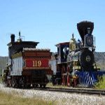 Replica locomotives of the Central Pacific Jupiter and Union Pacific 119 - Golden Spike NHS