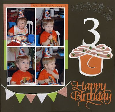 Happy Birthday Scrapbook Page - with Cupcake