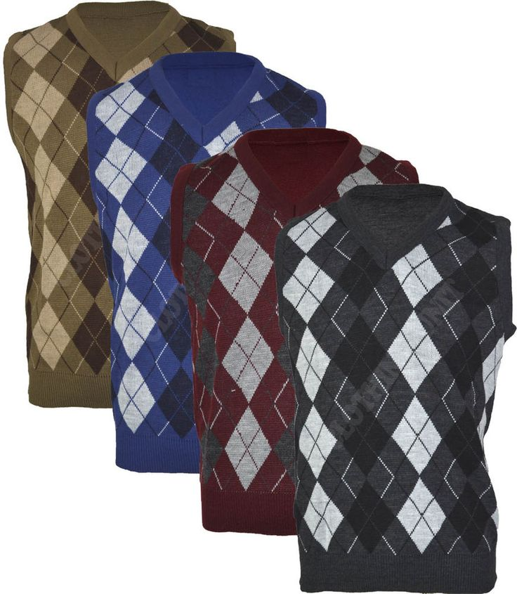 Details About VS1 Mens Argyle V Neck Sleeveless Sweater