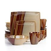Sango Dinnerware, Avanti Brown 16 Piece Set