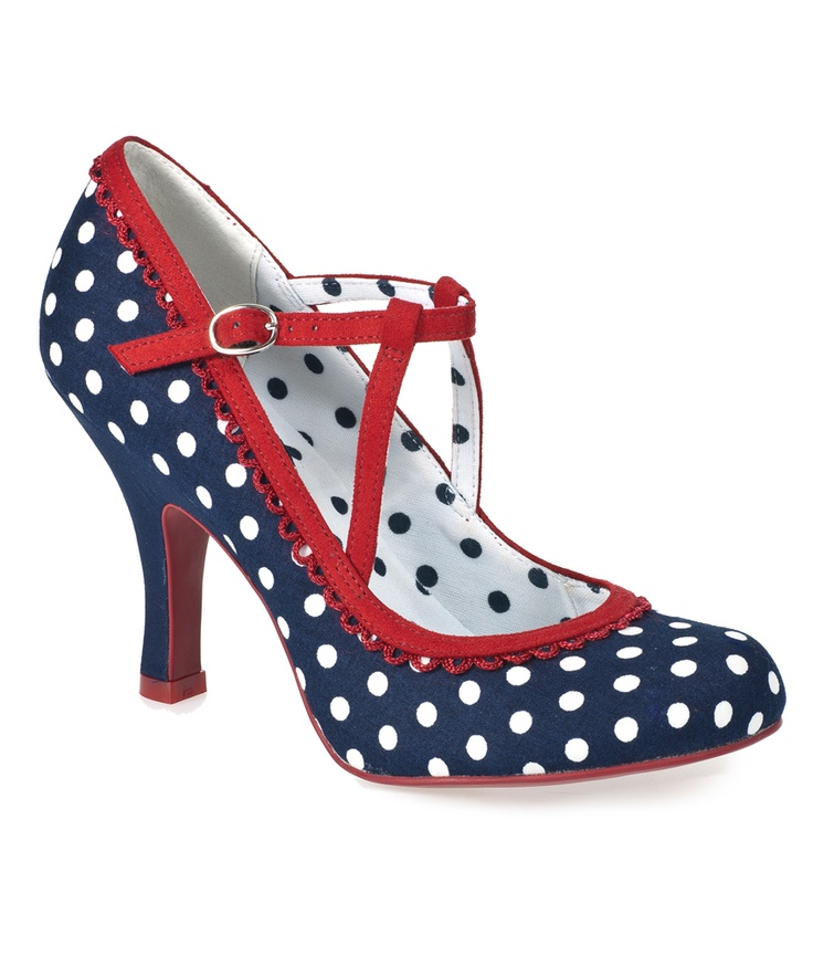 Ruby Shoo Ladies Polka Dot Dorothy Shoes Navy UK Size 3-8