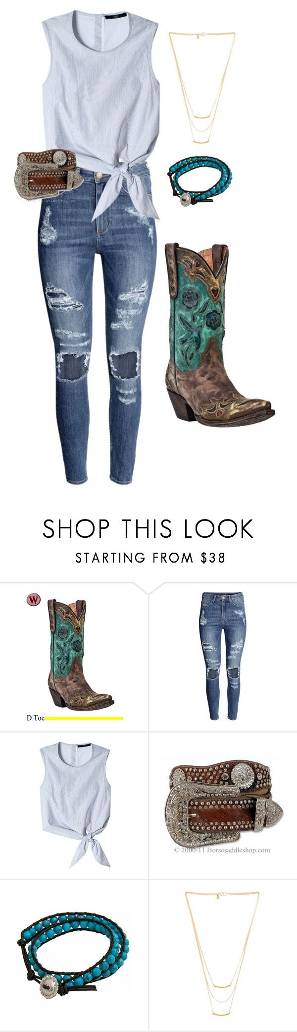 """""""Vintage Bluebird FALL"""" by horse-saddle-shop ❤ liked on Polyvore featuring Dan Post, H&M, TIBI, Montana Silversmiths, Gorjana and vintage"""