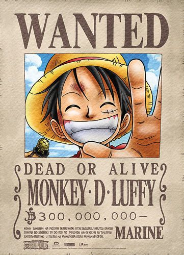 Legit Poster One Piece Straw Hat Pirate Luffy Wanted Authentic Wallscroll 5387 Anime One Piece Luffy Monkey D Luffy