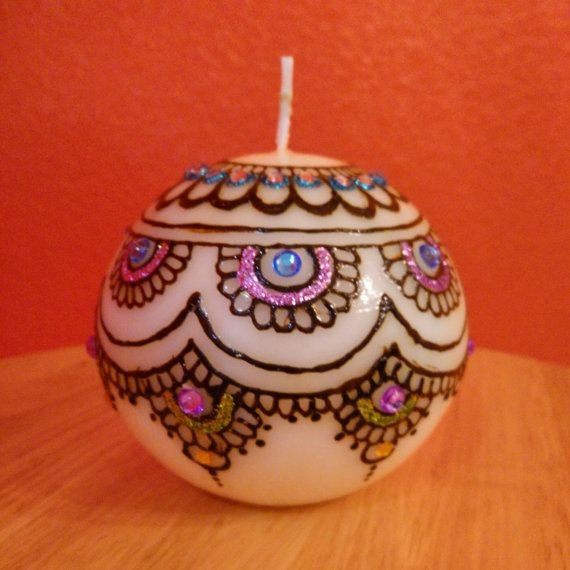 Henna inspired designer candles / Party favors / Wedding favors