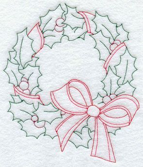 A Redwork Christmas wreath machine embroidery design.