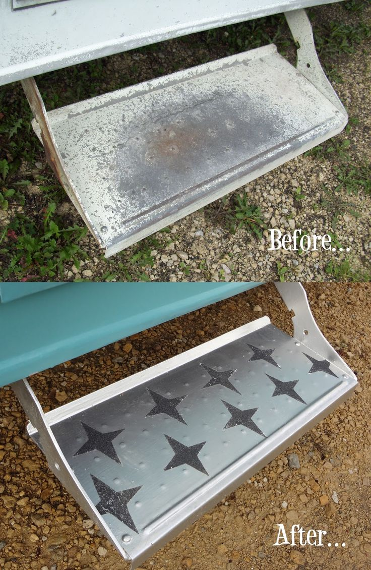1964 Shasta some great before and after pics. Stars painted on step fun!