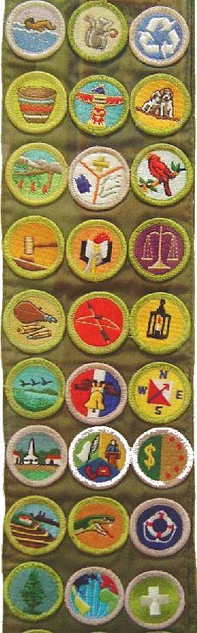 Boy Scouts of America merit badge sash  (Un pequeño ejemplo de la cantidad de especialidades que un Boy Scout estadounidense gana durante su permanencia en la Tropa y hasta que alcanza el Eagle Scout)