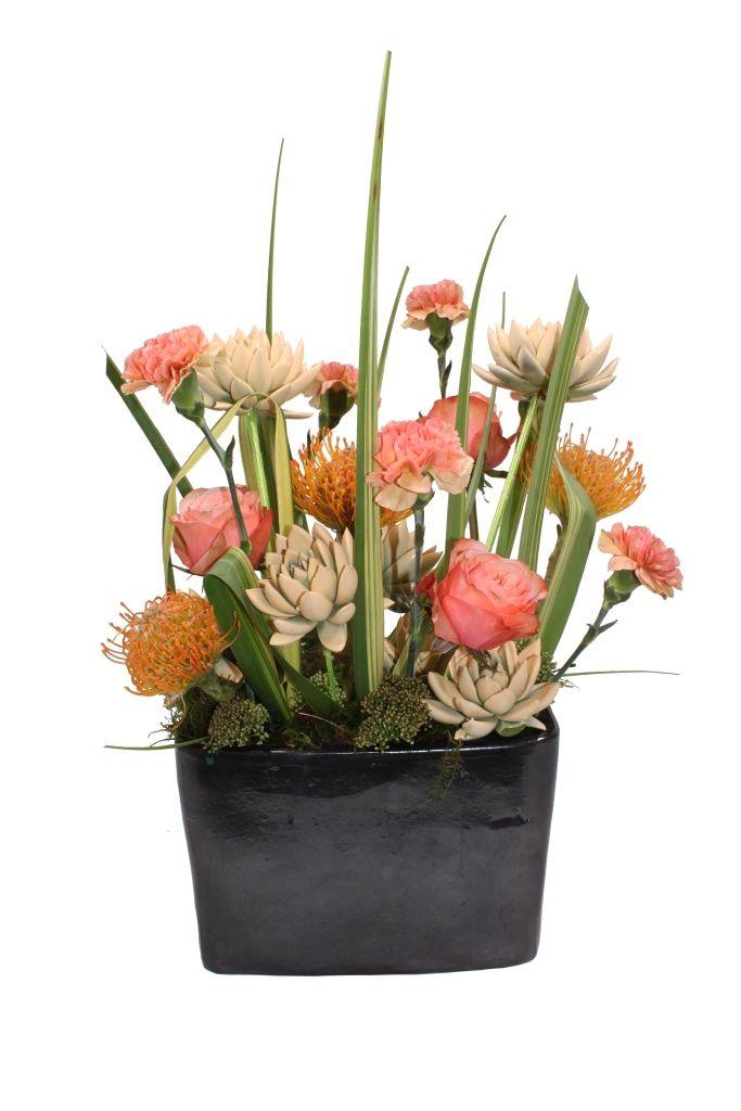 Luxe arrangement with coloured echeveria