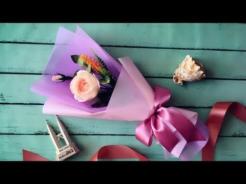 Bouquet wrapped with tissue paper #wrapflowers - YouTube