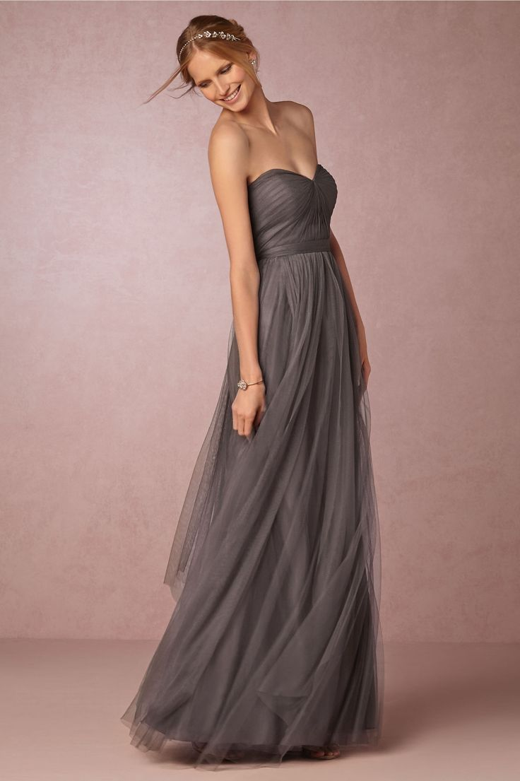 strapless dark grey bridesmaids dress | Annabelle Dress by Jenny Yoo for BHLDN