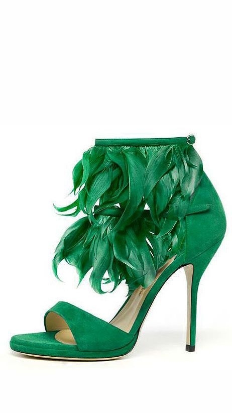 Paul Andrew Green Feather Ankle High Sandal RTW Spring 2014 #Shoes #Heels