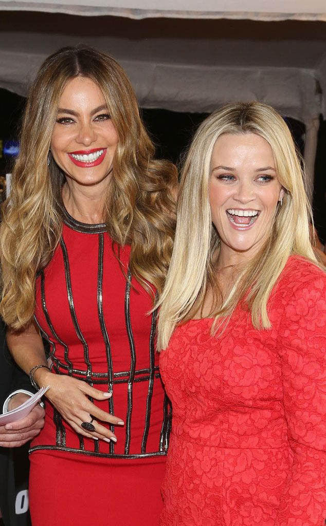 Sofia Vergara & Reese Witherspoon from Movie Premieres: Red Carpets and Parties!  Red hot! The actresses are clearly having a good time at the Hot Pursuit premiere at Cinepolis Plaza Carso in Mexico City.