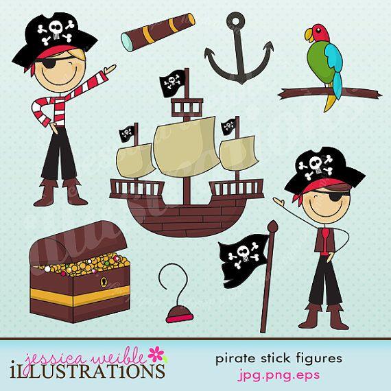 Pirate Stick Figures Cute Digital Clipart for Card Design, Scrapbooking, and Web Design