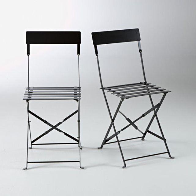 Chaise pliante métal, lot de 2 La Redoute Interieurs : prix, avis & notation, livraison.  Les 2 chaises pliantes en métal. Hissez les couleurs ! De la terrasse à la cuisine en passant par le salon, les chaises pliantes dynamisent la déco...CARACTÉRISTIQUES DE LA CHAISE PLIANTE MÉTAL :- En métal coloré laqué*.- Finition peinture époxy.- Assise lattée.Chaises de jardin en métal livrées montées. DIMENSIONS :- Totales : L38 x H83 x P45 cm. Vendues par lot de 2 de même coloris. Idée déco…