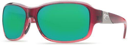Costa Del Mar Sunglasses - Inlet- Glass / Frame: Pomegranate Fade Lens: Polarized Green Mirror Wave 580 Glass