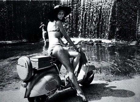 #ridecolorfully: vintage pin-up + #vespa + waterfall