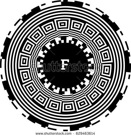 Surface of circular element. Round optical illusion with striped lines, squares. Black white artwork, op art effect. Monogram with letter, text label, lettering badge, sticker, print, poster, textile.