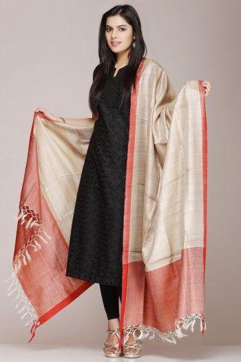 #Beige #Tussar #Silk #Dupatta With A #Orange Border on www.indiainmybag.com/tussar-tales-dupattas.html