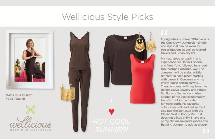 Wellicious Ambassador Gabriela Bozic is introducing her favourite SS14 Wellicious look that will travel the world with her this summer. To find out more about Gabi's busy schedule full of unique retreats, immersions and workshops go to www.gabrielabozic.com