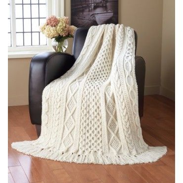 Mary Maxim - Aran Sampler Throw - Aran Irish Tweed yarn - Afghans - Knit & Crochet