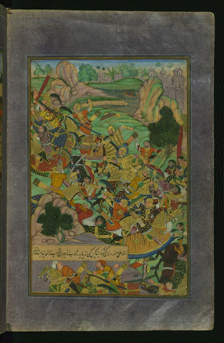 This painting depicts the Mughal emperor Babur with his companions confronting their enemies in the mountains of Kharābūk and Pashāmūn.W596
