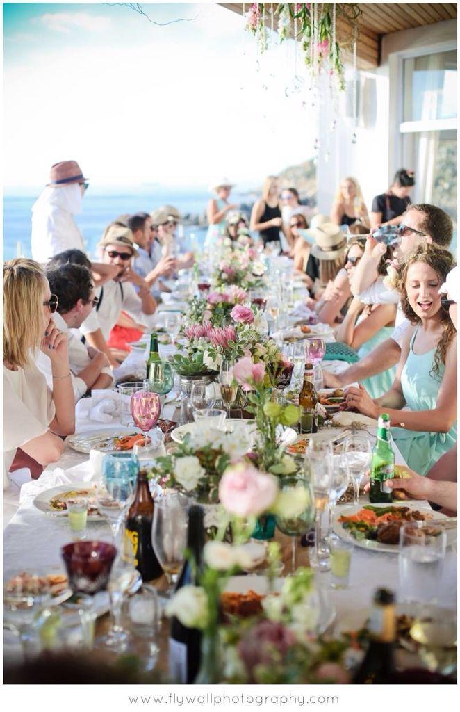 Italian buffet to table long wedding lunch