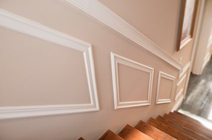 #103 Budget Wainscoting    This is a budget friendly style of wainscoting, it includes applied frames to give it a wainscoting look and a chair rail without the expense.