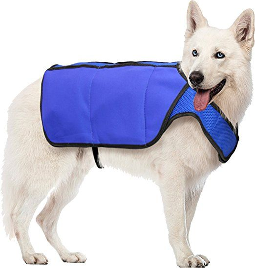 Hugs Pet Products Chilly Cooling Vest for Dogs, Medium, Blue. Cool down dogs during hot weather with this easy to use cooling vest. Let even big dogs have their day in the sun with this breathable vest cooled with gel freezer packs. Simply keep the packs in the freezer until needed, sliding them into convenient pockets built into the vest to keep them close and secure.